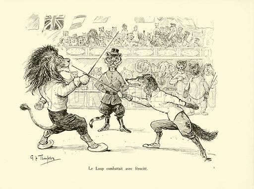 Le Loup combattait avec ferocite. Illustration for Les Animaux au Jeux Olympiques (Hachette c 1900).