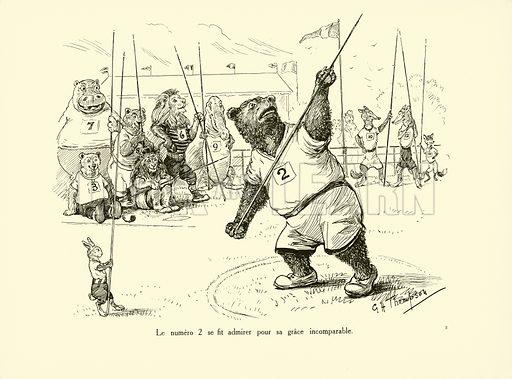 Le numero 2 se fit admirer pour sa grace incomparable. Illustration for Les Animaux au Jeux Olympiques (Hachette c 1900).