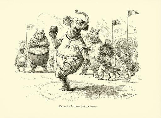 On arreta le Loup juste a temps. Illustration for Les Animaux au Jeux Olympiques (Hachette c 1900).