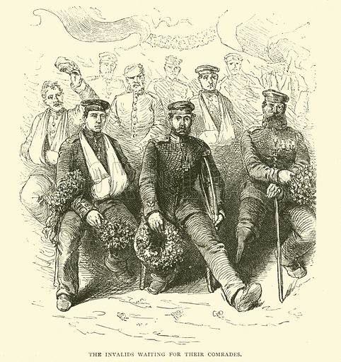 The Invalids waiting for their Comrades, 1871–2. Illustration for Cassell's History of the War between France and Germany, 1870 to 1871 (Cassell, c 1880).