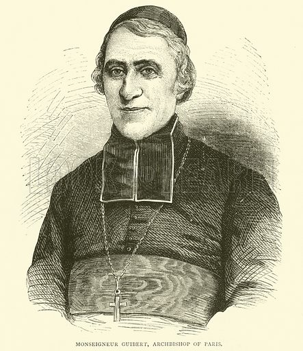 Monseigneur Guibert, Archbishop of Paris, May 1871. Illustration for Cassell's History of the War between France and Germany, 1870 to 1871 (Cassell, c 1880).