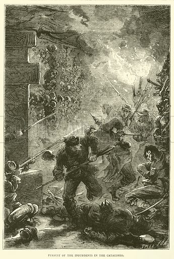 Pursuit of the Insurgents in the Catacombs, May 1871. Illustration for Cassell's History of the War between France and Germany, 1870 to 1871 (Cassell, c 1880).