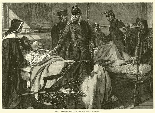 The Emperor visiting his wounded soldiers, May 1871. Illustration for Cassell's History of the War between France and Germany, 1870 to 1871 (Cassell, c 1880).