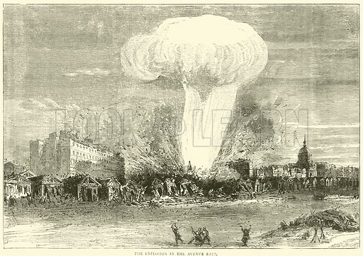 The explosion in the Avenue Rapp, April 1871. Illustration for Cassell's History of the War between France and Germany, 1870 to 1871 (Cassell, c 1880).