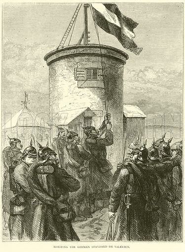 Hoisting the German standard on Valerien, March 1871. Illustration for Cassell's History of the War between France and Germany, 1870 to 1871 (Cassell, c 1880).
