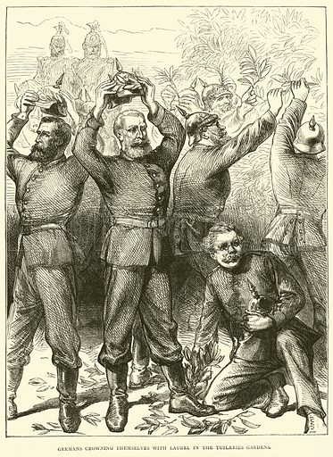 Germans crowning themselves with Laurel in the Tuileries Gardens, March 1871. Illustration for Cassell's History of the War between France and Germany, 1870 to 1871 (Cassell, c 1880).