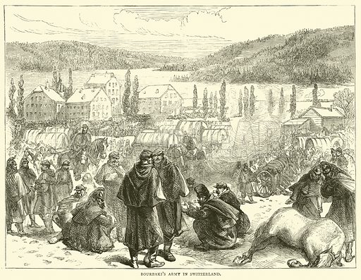 Bourbaki's Army in Switzerland, February 1871. Illustration for Cassell's History of the War between France and Germany, 1870 to 1871 (Cassell, c 1880).