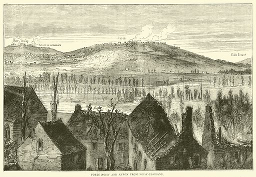 Forts Noisy and Avron from Noisy-le-Grand, January 1871. Illustration for Cassell's History of the War between France and Germany, 1870 to 1871 (Cassell, c 1880).