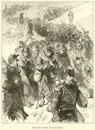 Bourbaki's retreat to Switzerland, January 1871. Illustration for Cassell's History of the War between France and Germany, 1870 to 1871 (Cassell, c 1880).