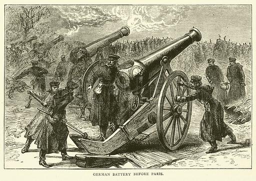 German Battery before Paris, January 1871. Illustration for Cassell's History of the War between France and Germany, 1870 to 1871 (Cassell, c 1880).