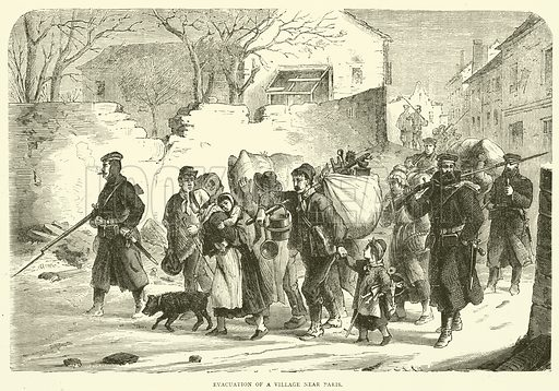Evacuation of a village near Paris, December 1870. Illustration for Cassell's History of the War between France and Germany, 1870 to 1871 (Cassell, c 1880).