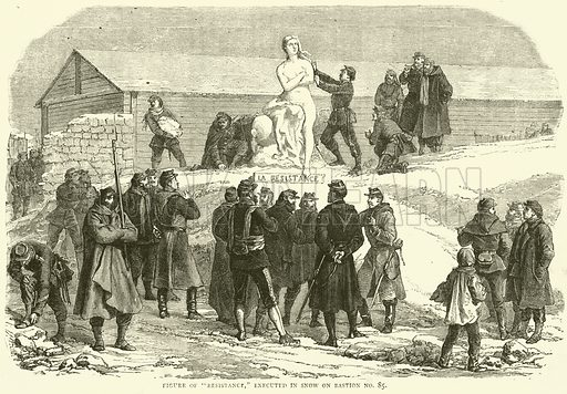 """Figure of """"Resistance,"""" executed in snow on Bastion No 85, December 1870. Illustration for Cassell's History of the War between France and Germany, 1870 to 1871 (Cassell, c 1880)."""