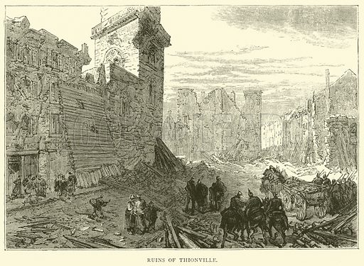 Ruins of Thionville, December 1870. Illustration for Cassell's History of the War between France and Germany, 1870 to 1871 (Cassell, c 1880).