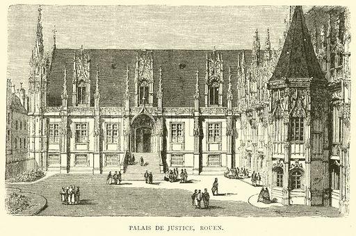 Palais de Justice, Rouen, December 1870. Illustration for Cassell's History of the War between France and Germany, 1870 to 1871 (Cassell, c 1880).