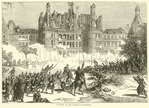 Fighting at the Castle of Chambord, December 1870. Illustration for Cassell's History of the War between France and Germany, 1870 to 1871 (Cassell, c 1880).