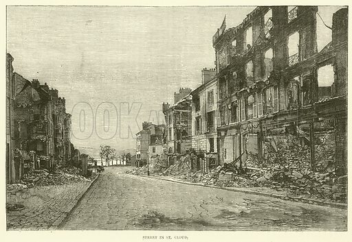 Street in St Cloud, November 1870. Illustration for Cassell's History of the War between France and Germany, 1870 to 1871 (Cassell, c 1880).