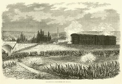 Locomotive Batteries in action, November 1870. Illustration for Cassell's History of the War between France and Germany, 1870 to 1871 (Cassell, c 1880).