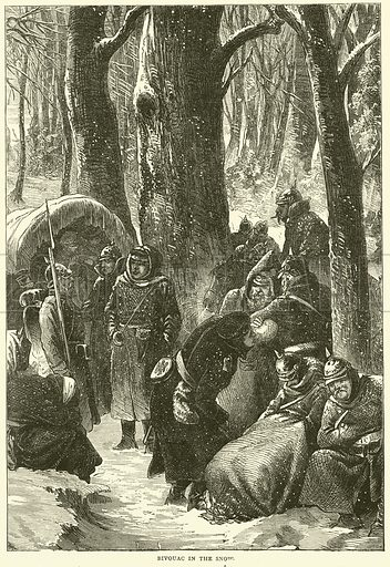 Bivouac in the snow, November 1870. Illustration for Cassell's History of the War between France and Germany, 1870 to 1871 (Cassell, c 1880).