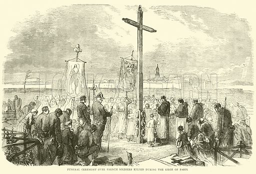 Funeral ceremony over French soldiers killed during the Siege of Paris, October 1870. Illustration for Cassell's History of the War between France and Germany, 1870 to 1871 (Cassell, c 1880).