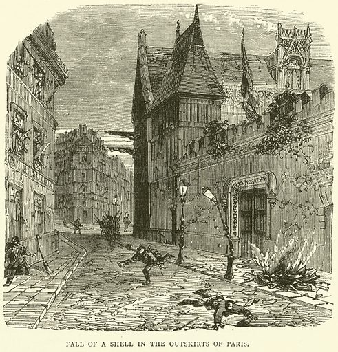 Fall of a shell in the outskirts of Paris, October 1870. Illustration for Cassell's History of the War between France and Germany, 1870 to 1871 (Cassell, c 1880).