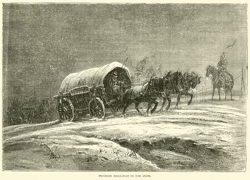 Prussian field-post in the snow, October 1870. Illustration for Cassell's History of the War between France and Germany, 1870 to 1871 (Cassell, c 1880).
