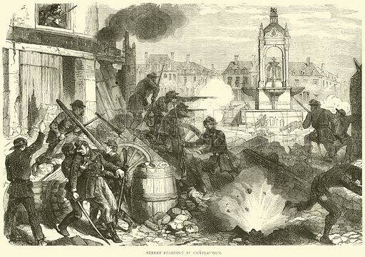 Street fighting at Chateaudun, October 1870. Illustration for Cassell's History of the War between France and Germany, 1870 to 1871 (Cassell, c 1880).