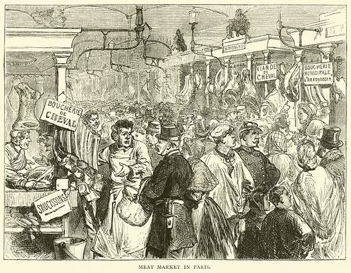 Meat Market in Paris, October 1870. Illustration for Cassell's History of the War between France and Germany, 1870 to 1871 (Cassell, c 1880).