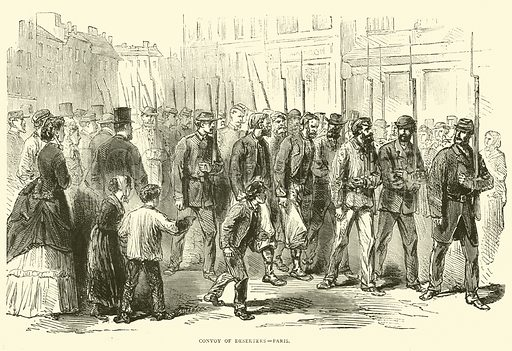 Convoy of deserters, Paris, October 1870. Illustration for Cassell's History of the War between France and Germany, 1870 to 1871 (Cassell, c 1880).