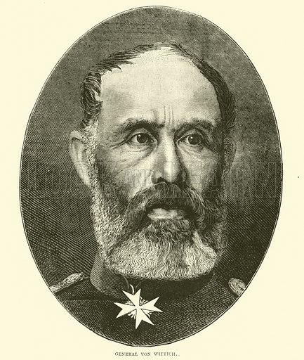 General Von Wittich, October 1870. Illustration for Cassell's History of the War between France and Germany, 1870 to 1871 (Cassell, c 1880).