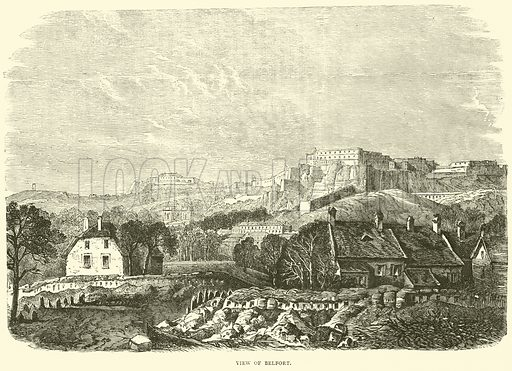 View of Belfort, October 1870. Illustration for Cassell's History of the War between France and Germany, 1870 to 1871 (Cassell, c 1880).