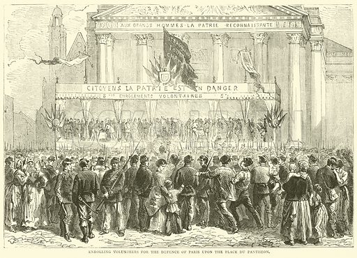 Enrolling volunteers for the defence of Paris upon the Place du Pantheon, October 1870. Illustration for Cassell's History of the War between France and Germany, 1870 to 1871 (Cassell, c 1880).