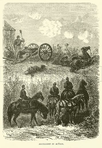 Artillery in action, October 1870. Illustration for Cassell's History of the War between France and Germany, 1870 to 1871 (Cassell, c 1880).