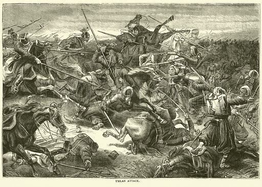 Uhlan attack, October 1870. Illustration for Cassell's History of the War between France and Germany, 1870 to 1871 (Cassell, c 1880).