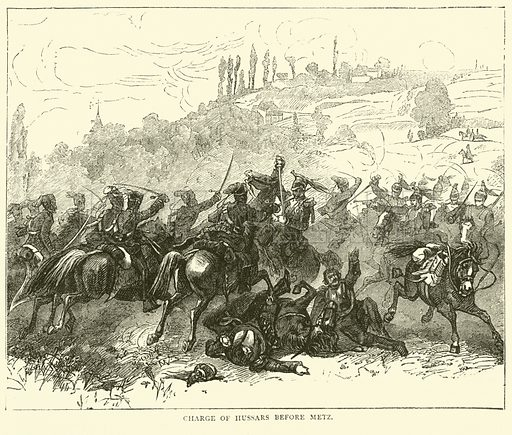 Charge of Hussars before Metz, October 1870. Illustration for Cassell's History of the War between France and Germany, 1870 to 1871 (Cassell, c 1880).