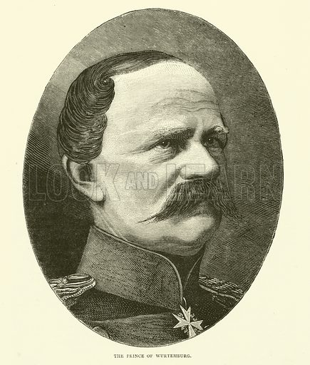 The Prince of Wurtemburg, September 1870. Illustration for Cassell's History of the War between France and Germany, 1870 to 1871 (Cassell, c 1880).