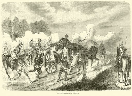 Prussian provision wagons, September 1870. Illustration for Cassell's History of the War between France and Germany, 1870 to 1871 (Cassell, c 1880).