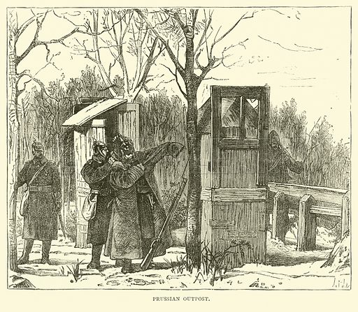 Prussian outpost, September 1870. Illustration for Cassell's History of the War between France and Germany, 1870 to 1871 (Cassell, c 1880).