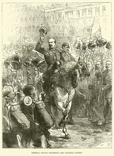 General Trochu reviewing the National Guards, September 1870. Illustration for Cassell's History of the War between France and Germany, 1870 to 1871 (Cassell, c 1880).