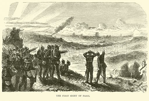 The first sight of Paris, September 1870. Illustration for Cassell's History of the War between France and Germany, 1870 to 1871 (Cassell, c 1880).