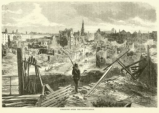 Strasburg after the capitulation, September 1870. Illustration for Cassell's History of the War between France and Germany, 1870 to 1871 (Cassell, c 1880).