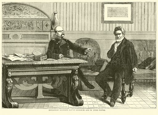 Interview between Count Bismarck and M Jules Favre, September 1870. Illustration for Cassell's History of the War between France and Germany, 1870 to 1871 (Cassell, c 1880).
