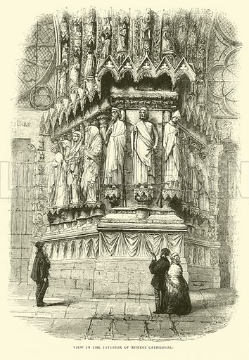 View in the interior of Rheims Cathedral, September 1870. Illustration for Cassell's History of the War between France and Germany, 1870 to 1871 (Cassell, c 1880).