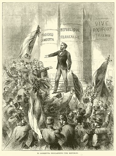 M Gambetta proclaiming the Republic, September 1870. Illustration for Cassell's History of the War between France and Germany, 1870 to 1871 (Cassell, c 1880).