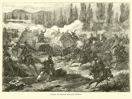 Attack on French provision convoy, September 1870. Illustration for Cassell's History of the War between France and Germany, 1870 to 1871 (Cassell, c 1880).