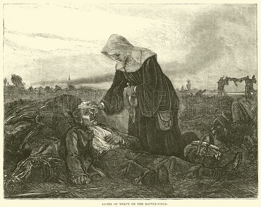 Sister of Mercy on the battle-field, September 1870. Illustration for Cassell's History of the War between France and Germany, 1870 to 1871 (Cassell, c 1880).