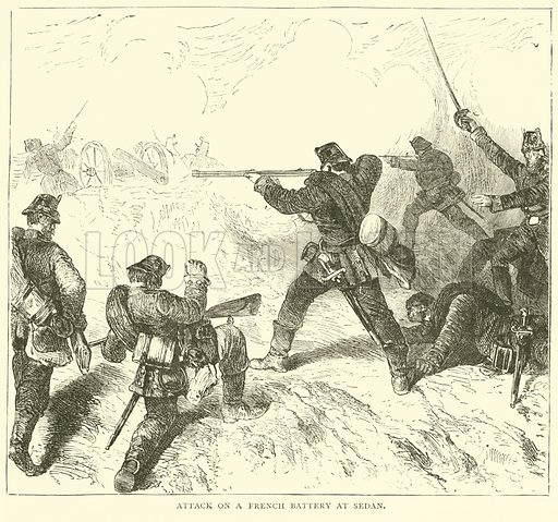 Attack on a French Battery at Sedan, September 1870. Illustration for Cassell's History of the War between France and Germany, 1870 to 1871 (Cassell, c 1880).