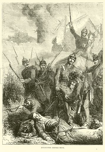 Encounter before Metz, August 1870. Illustration for Cassell's History of the War between France and Germany, 1870 to 1871 (Cassell, c 1880).