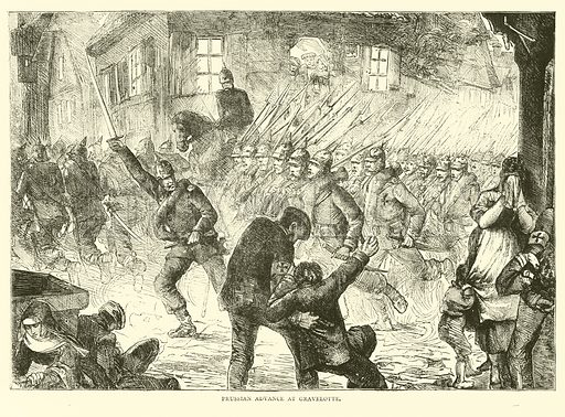 Prussian advance at Gravelotte, August 1870. Illustration for Cassell's History of the War between France and Germany, 1870 to 1871 (Cassell, c 1880).
