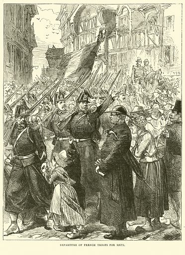 Departure of French troops for Metz, August 1870. Illustration for Cassell's History of the War between France and Germany, 1870 to 1871 (Cassell, c 1880).