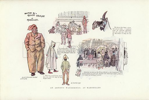 An artist's wanderings, at Marseilles. Illustration for A Phil May Medley (Graphic, 1903).